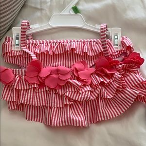 Girls pink and white flower swimsuit